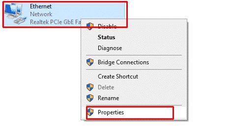 Windows network adapter properties
