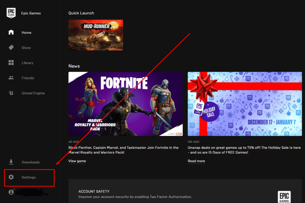 Demonstrates where the settings tab is located in the Epic Games Launcher.