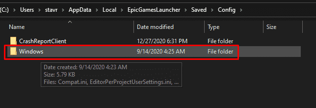 How to find the Windows folder under EpicGamesLauncher folder on Windows 10, that will help to find the engine.ini file.