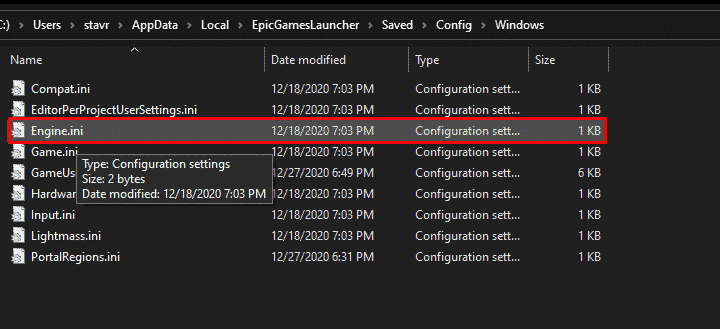 Engine.ini file that we are going to optimize to increase Epic Games Launcher download speed.