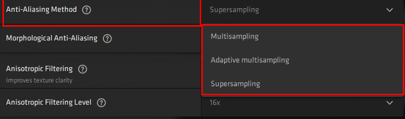 It shows the best AntiAliasing Method on AMD Software