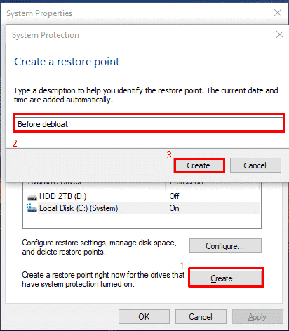 Giving a description name on your Restore point, so you can remember it if needed.