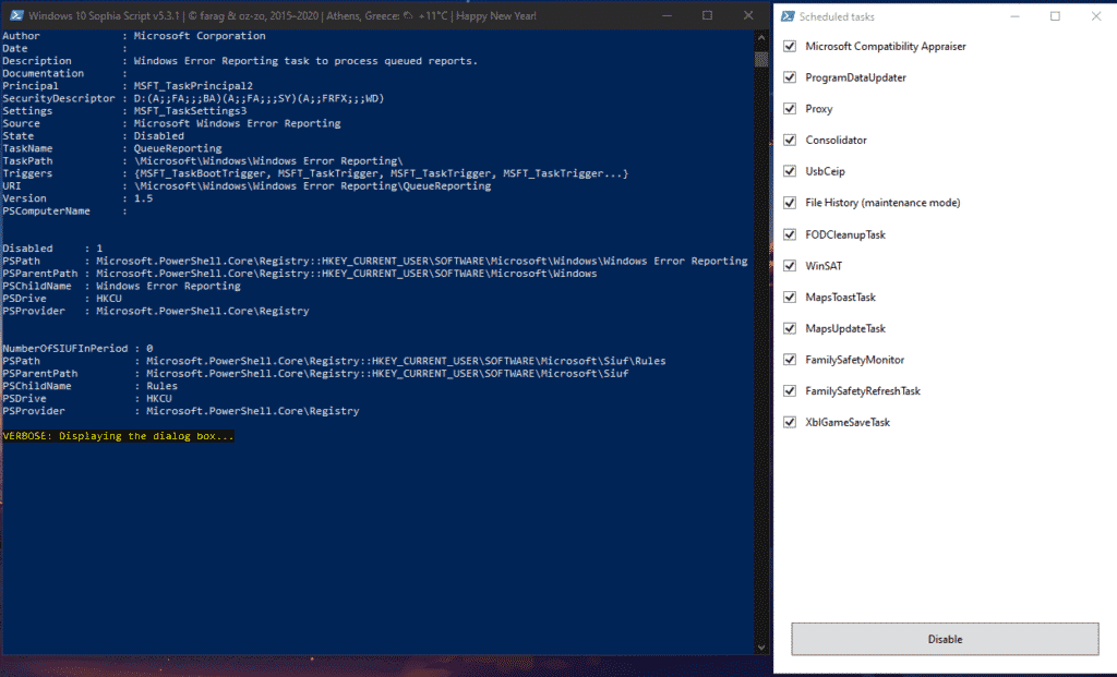 The script's first phase shows a tab to choose which Windows 10Scheduled Tasks you would like to be disabled by the script.