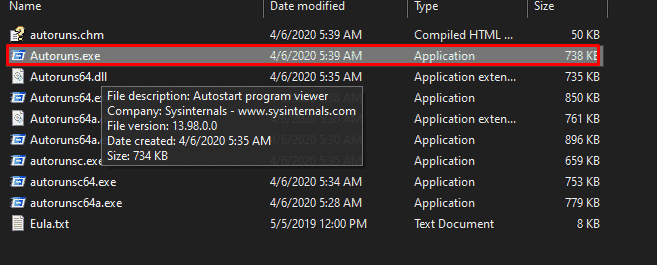 How the Autoruns folder looks like when we extract the zip file.