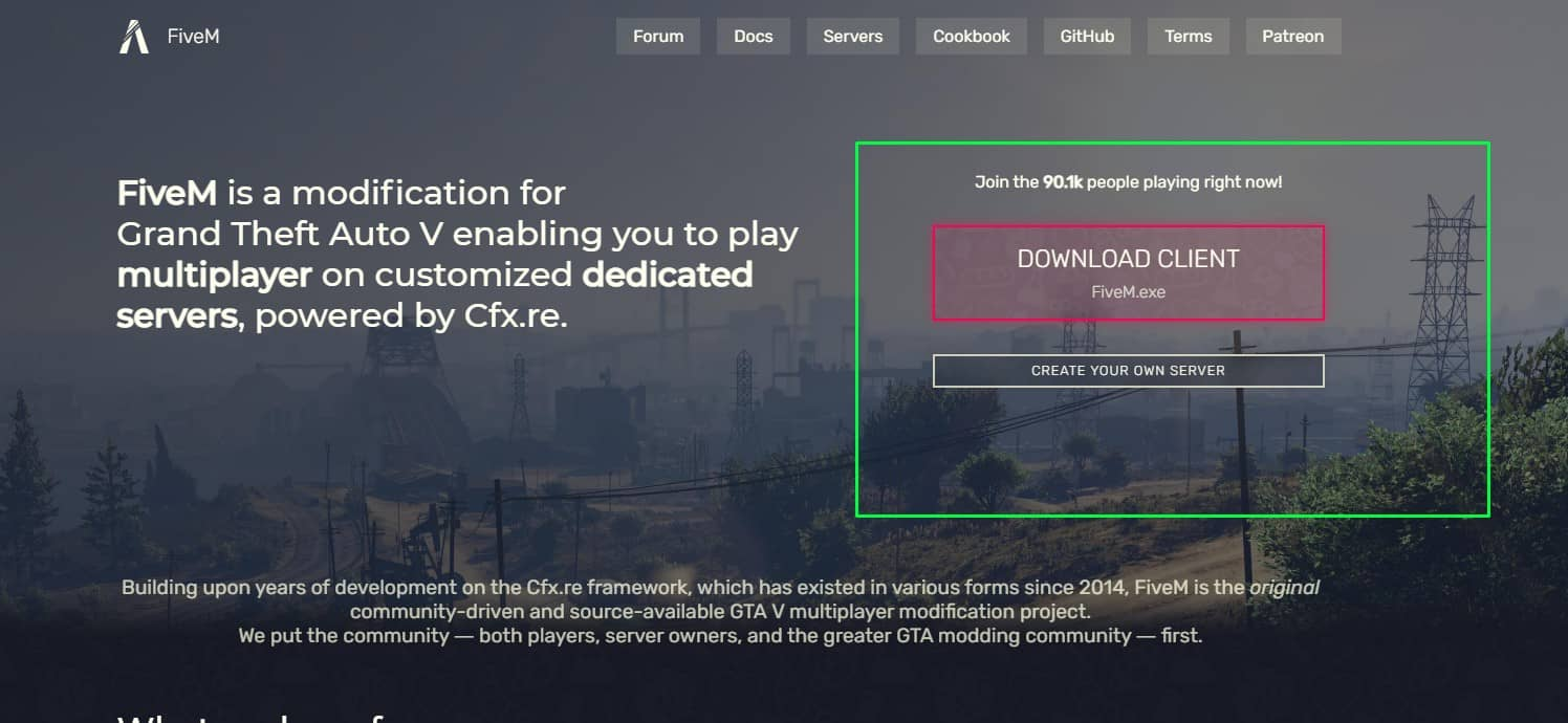 How to download FIVEM client from the official FiveM website.