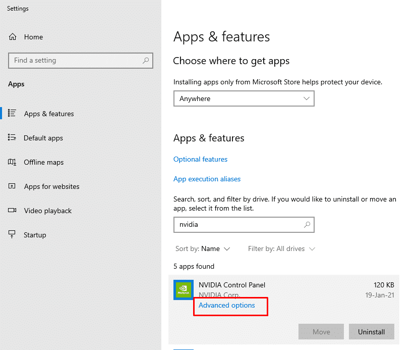 How to locate the NVidia Control Panel software advanced options