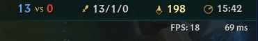 Displays how Ping and FPS counter looks in League of Legends when you enable it.