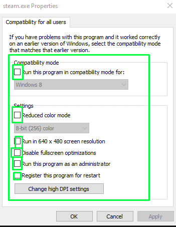 Changing compatibility settings for all users on the computer - step 2