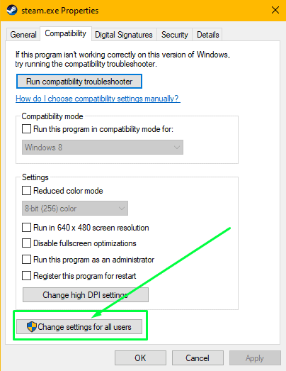 Changing compatibility settings for all users on the computer - step 1