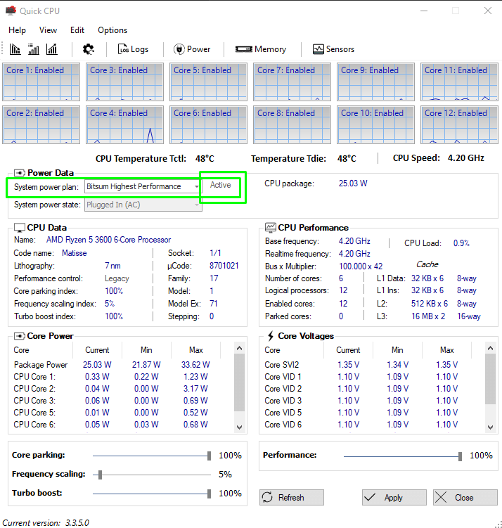 pre-requirements to park CPU cores in QUickCPU app