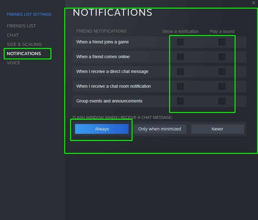 How to disable Steam Notifications about Friends, chat, direct messages, group events, announcements, and when a friend joins a game.