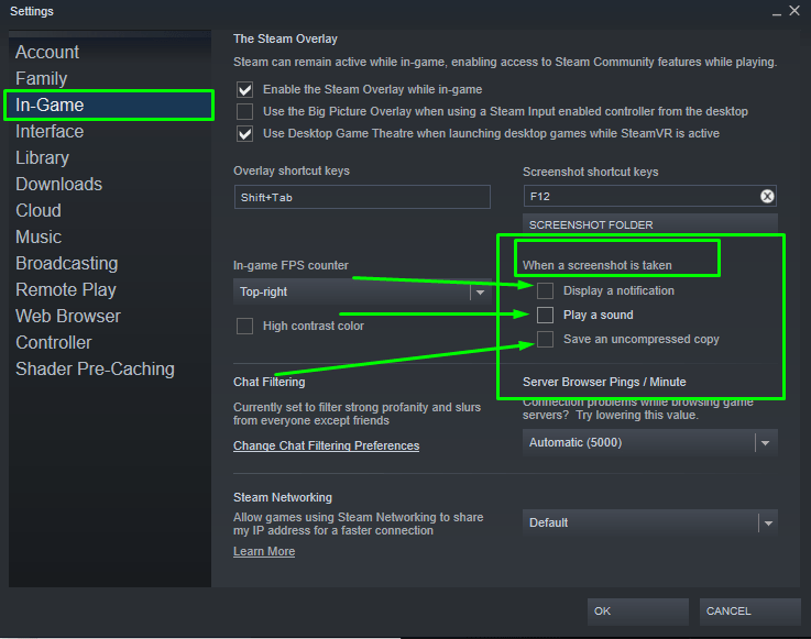 On the In-game settings tab of steam, turning off steam screenshot notifications.