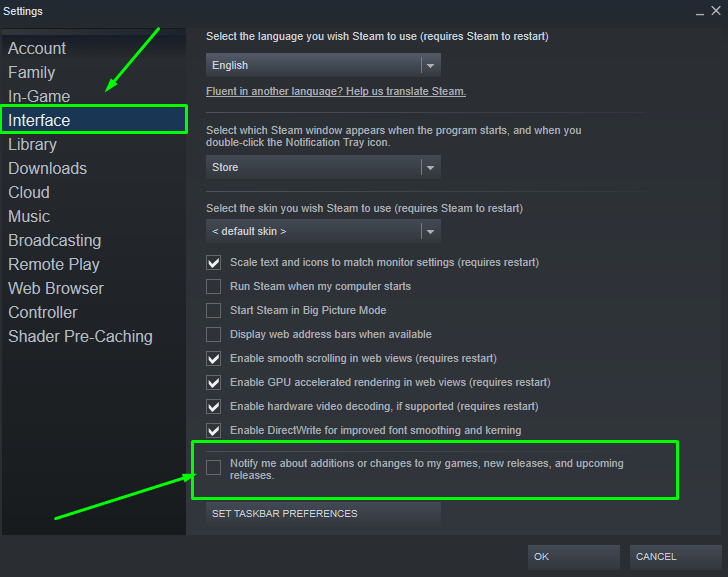 How to access Interface settings on Steam and Disable notifications about games.