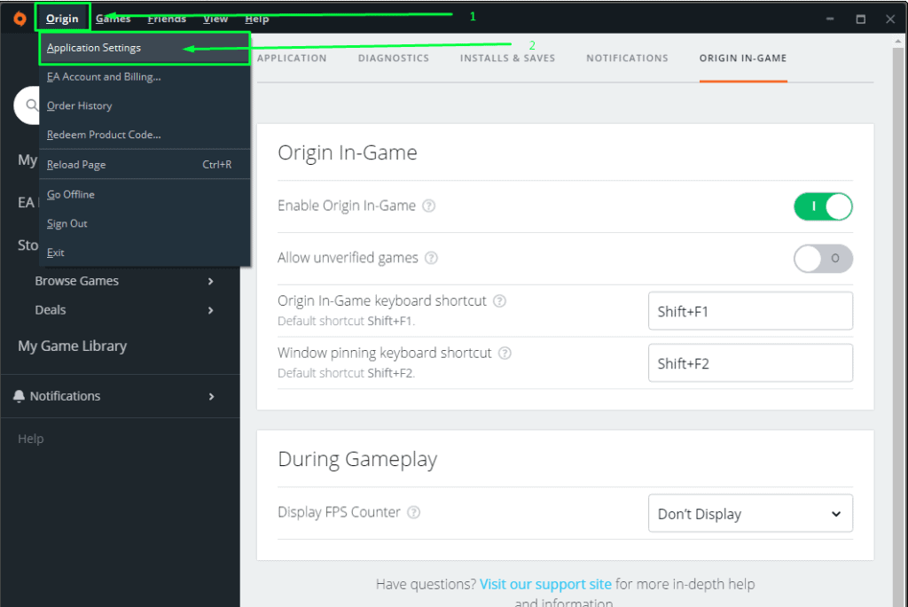 Shows the first step in order to disable the origin in-game overlay