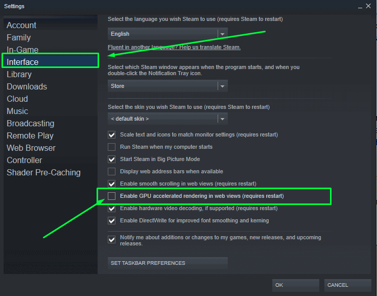 How to Disable GPU accelerated rendering in web views on Steam in 2021 in order to fix any black screens on Steam client