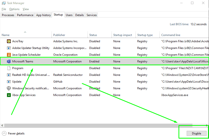 stop Microsoft teams from Opening via the task manager