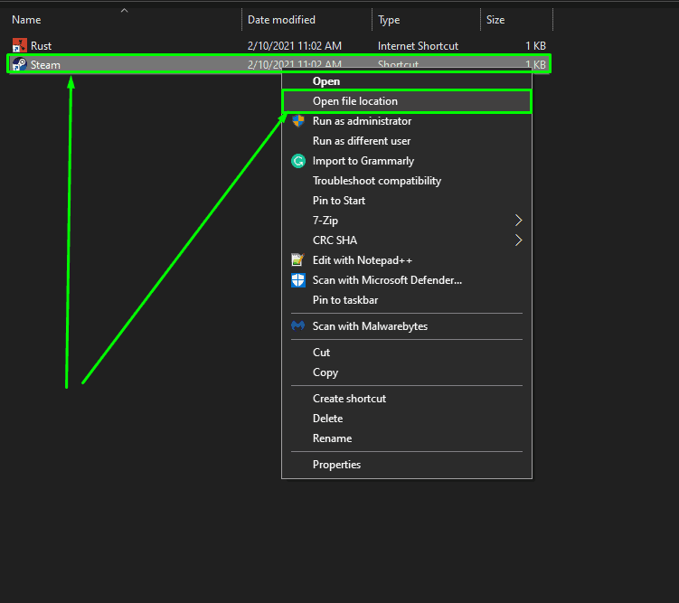 Open file location of Steam shortcut