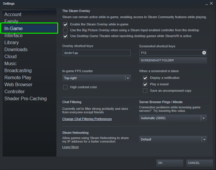 How to access Ingame settings on Steam