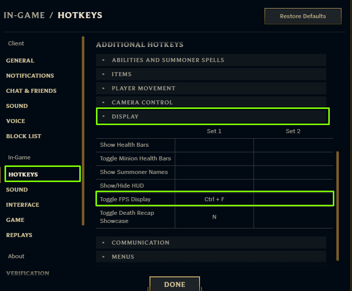 Demonstrates how to change the key combination to display your ping and fps in League of Legends in 2021.