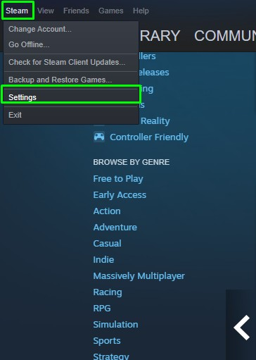2 steps to access settings on Steam