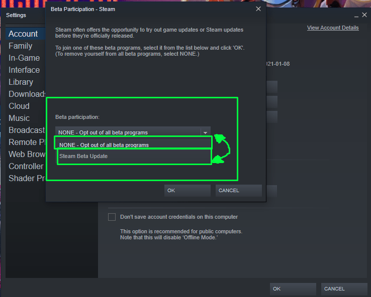 How to opt in or out of Beta participation on Steam.