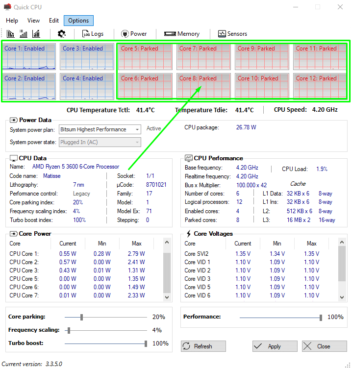 Status of CPU cores in QuickCPU app