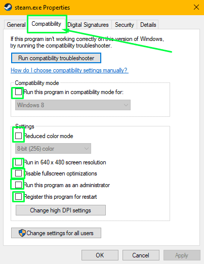 Disabling all compatibility settings on the steam executable file