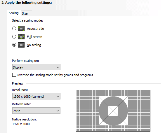 Best Adjust Desktop Size and position settings in Nvidia control panel