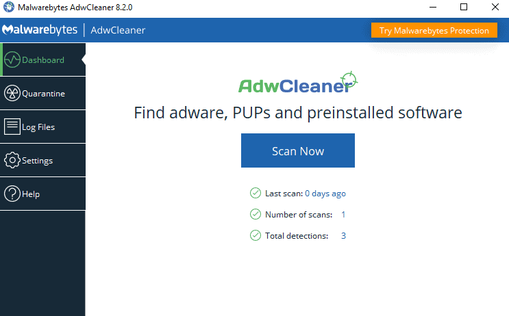 Remove adware and spyware using AdwCleaner by Malwarebytes