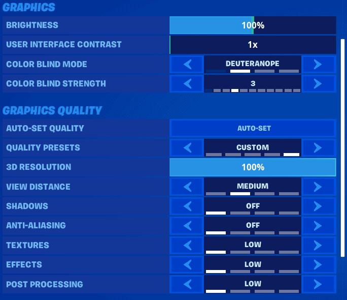 Best Fortnite Graphics settings screenshot