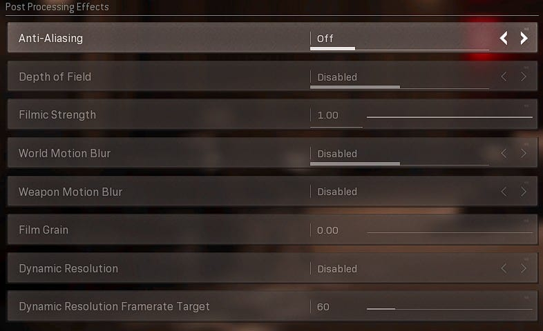 Best Warzone settings graphics tab ( Post Processing Effects)