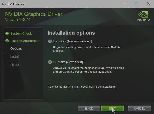 The installation process of Nvidia drivers