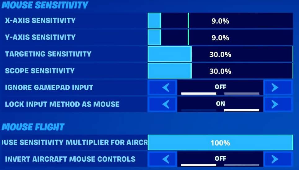Mongraal's Mouse sensitivity settings in Fortnite