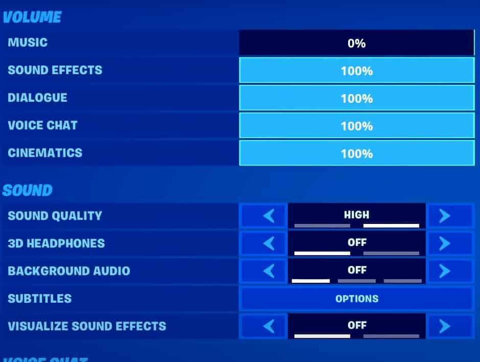Mongraal's sound settings in fortnite