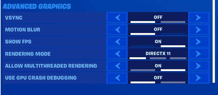 Best Fortnite advanced graphics settings screenshot