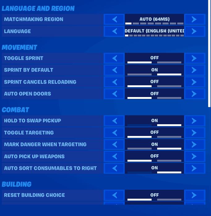 Mongraal's game settings