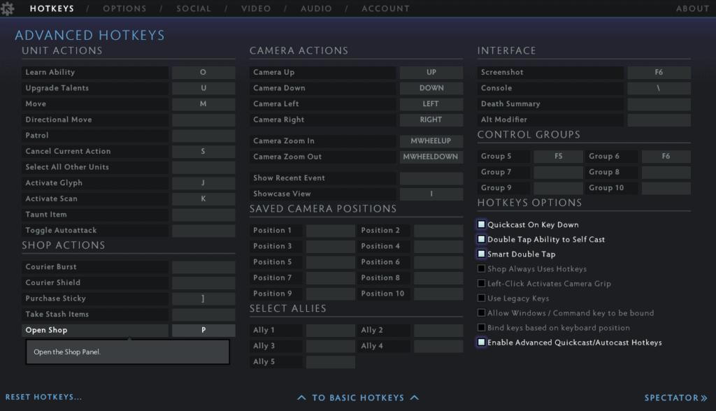 Best Dota 2 HotKeys / Keybinds Settings on the Advanced tab
