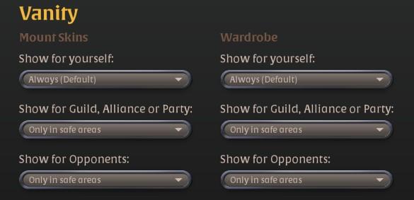 Best Albion online general settings as described in the post. ( Vanity TAB )