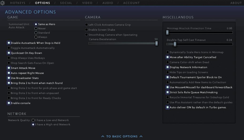 Best Dota 2 ( Minimap, Interface, Game, Camera, Miscellaneous) settings Advanced tab