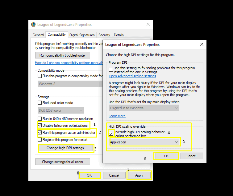 How to disable full screen optimizations in League