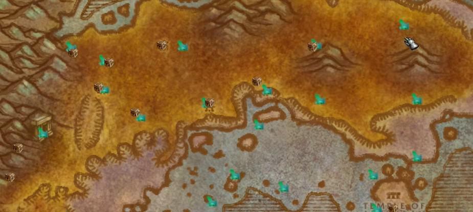 The interface of GatherMate2 WoW Leveling and Questing addon in-game.