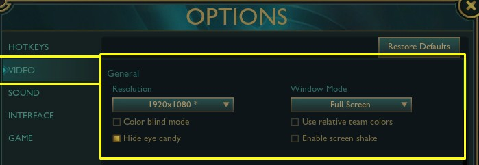 Settings that should be changed in League of Legends Video settings tab