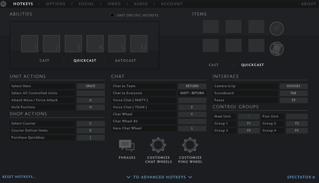 Best Dota 2 HotKeys / Keybinds Settings on the Basic tab