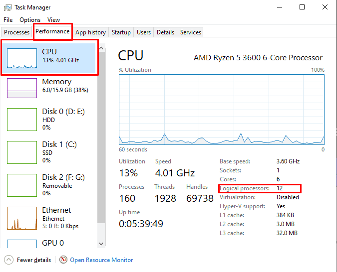 How to check how many logical processors your CPU has.