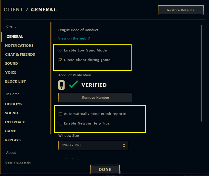 Shows which client settings should be changed for optimal performance.