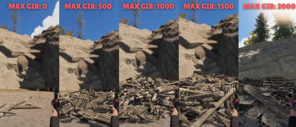 Max Gibs is setting on Rust. An example of results after setting the value of Gibs to 0,500,1000,1500 and 2000.