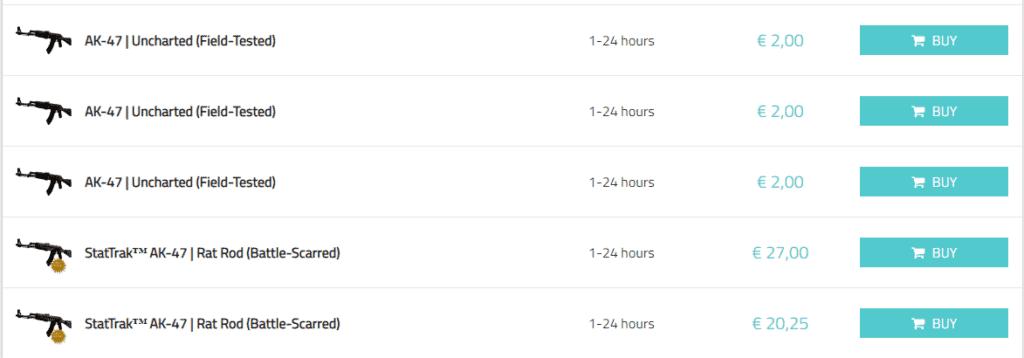 Screenshot of MMOGA offers for CS: GO SKINS
