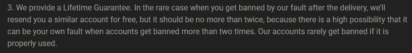 Screenshot of MMOGAH's guarantee to the buyers.