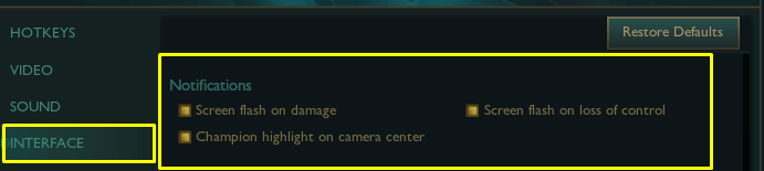 Shows which settings in the interface tab of League of Legends settings should be changed, part 2.