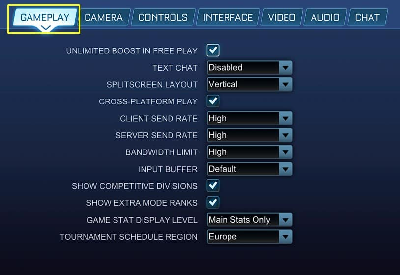 Best Gameplay settings for Rocket League
